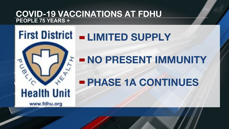 Limited vaccines available for 75+ through First District Health Unit