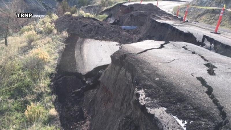 Road repair zone in Theodore Roosevelt National Park