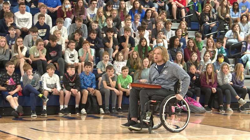 Hunter Pinke knows how to keep a crowd's attention. He is constantly moving as he speaks to...