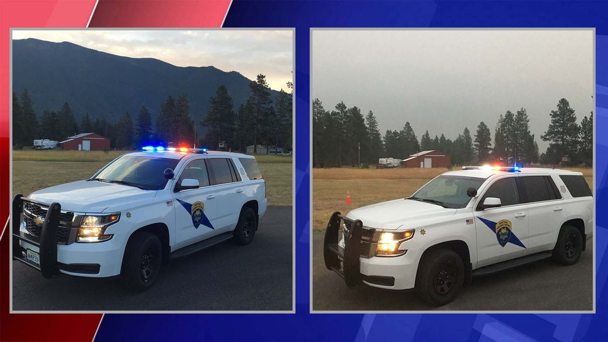 A Montana State Trooper snapped some photos a couple of miles from Glacier National Park in Montana, showcasing the effects of the western wildfires.
