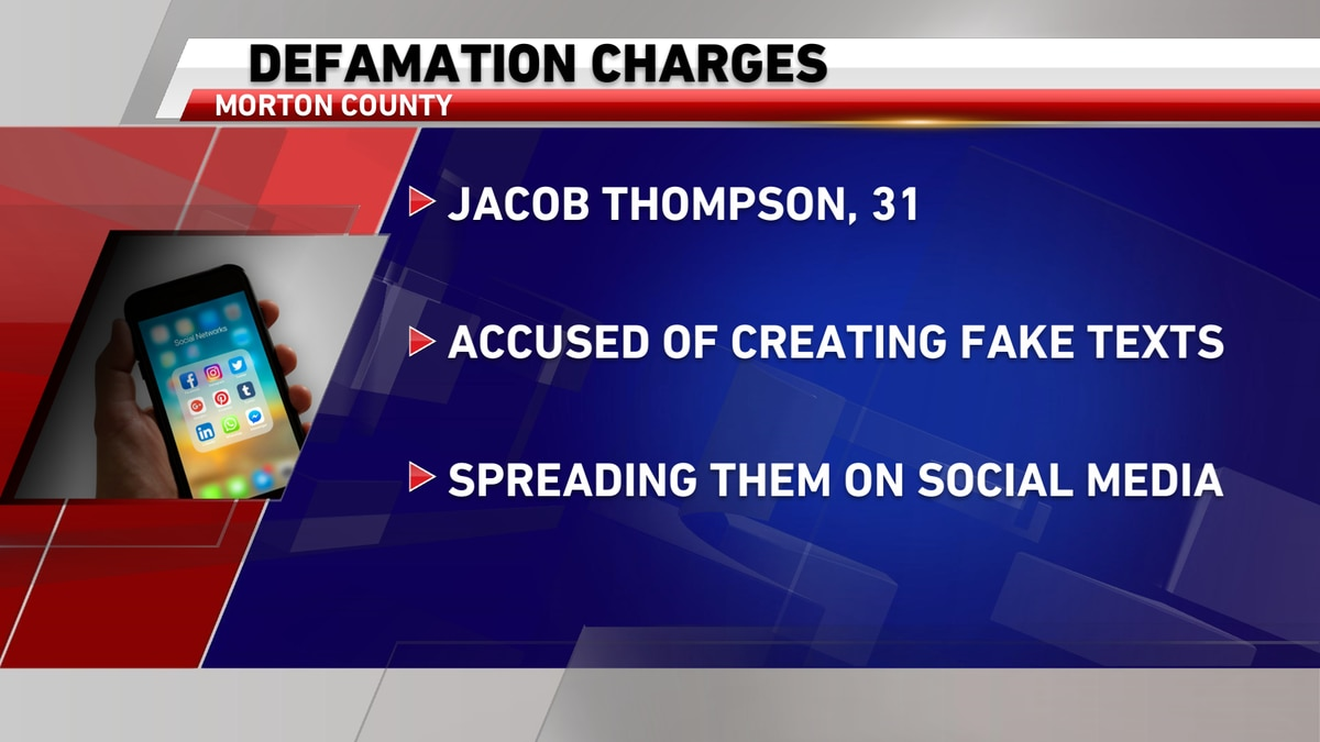 A Mandan man is charged with defamation after prosecutors say he created fake text message and...