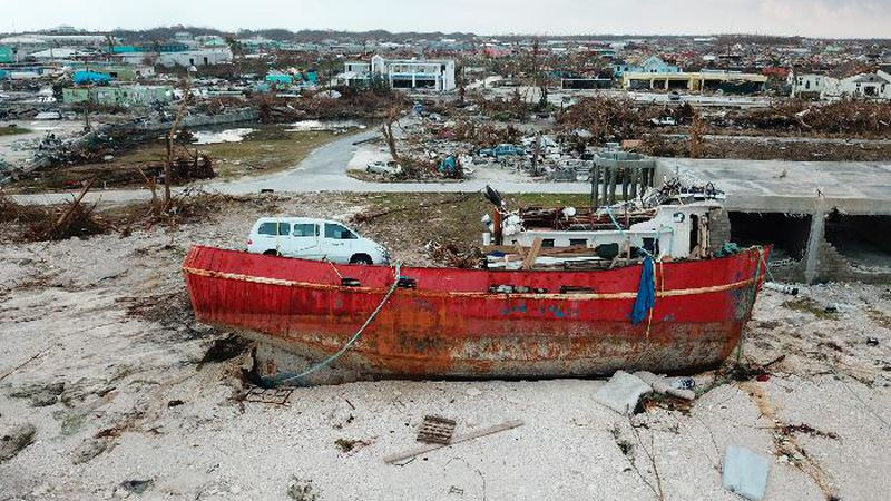 A boat sits grounded in the aftermath of Hurricane Dorian, in Marsh Harbor, Abaco Island,...