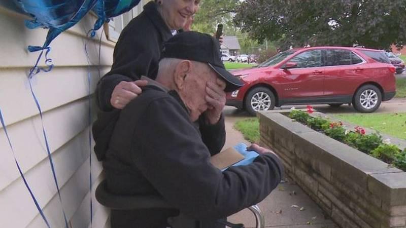 World War II veteran William C. Elliott was moved to tears on his 100th birthday.