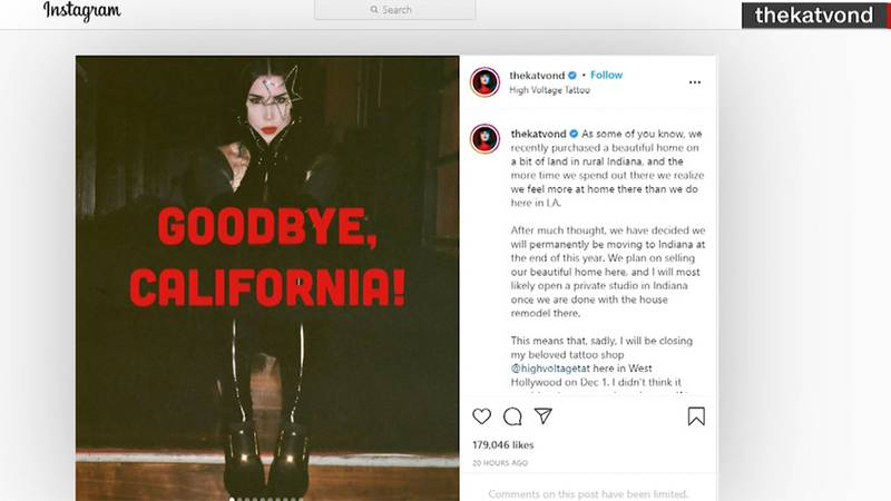 California tattoo artist Kat Von D announced her move to the Hoosier State in a Instagram post.