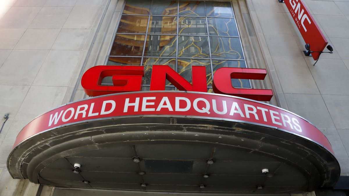 This is the sign outside the world headquarters of GNC in downtown Pittsburgh Monday, July 15, 2019. The company has filed for Chapter 11 bankruptcy protection.(AP Photo/Gene J. Puskar/file)