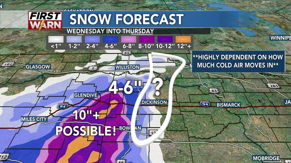 Snow forecast for Tuesday evening through Thursday