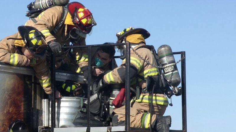 Minot Fire Department practices rapid intervention.