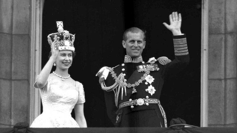 FILE - In this June 2, 1953 file photo, Britain's Queen Elizabeth II and her husband, the Duke...