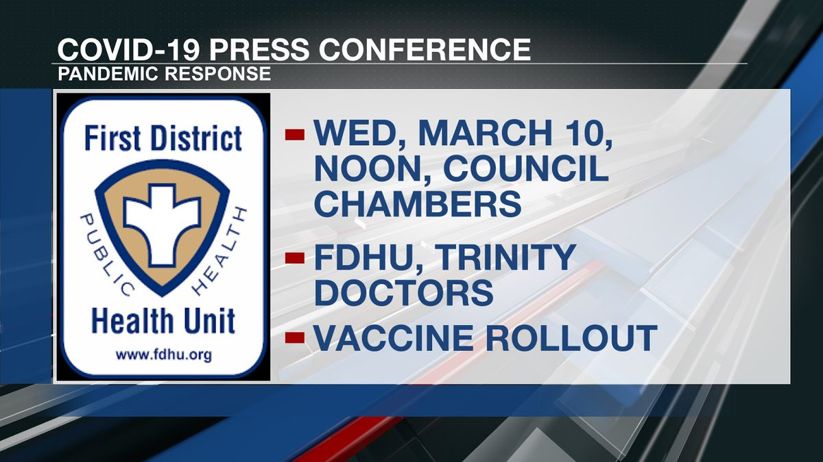 First District Health Unit will hold a press conference Wednesday to address the progress in...