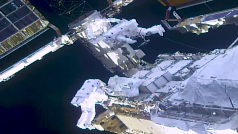 NASA's Kate Rubins and Japan's Soichi Noguchi installed mounting brackets and struts for the...