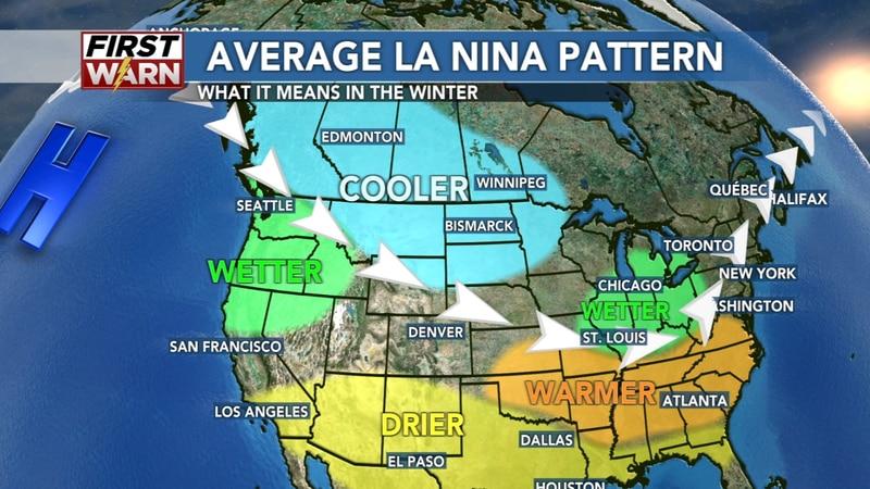 Average La Niña pattern across the United States highlighting where the jet stream usually sets...