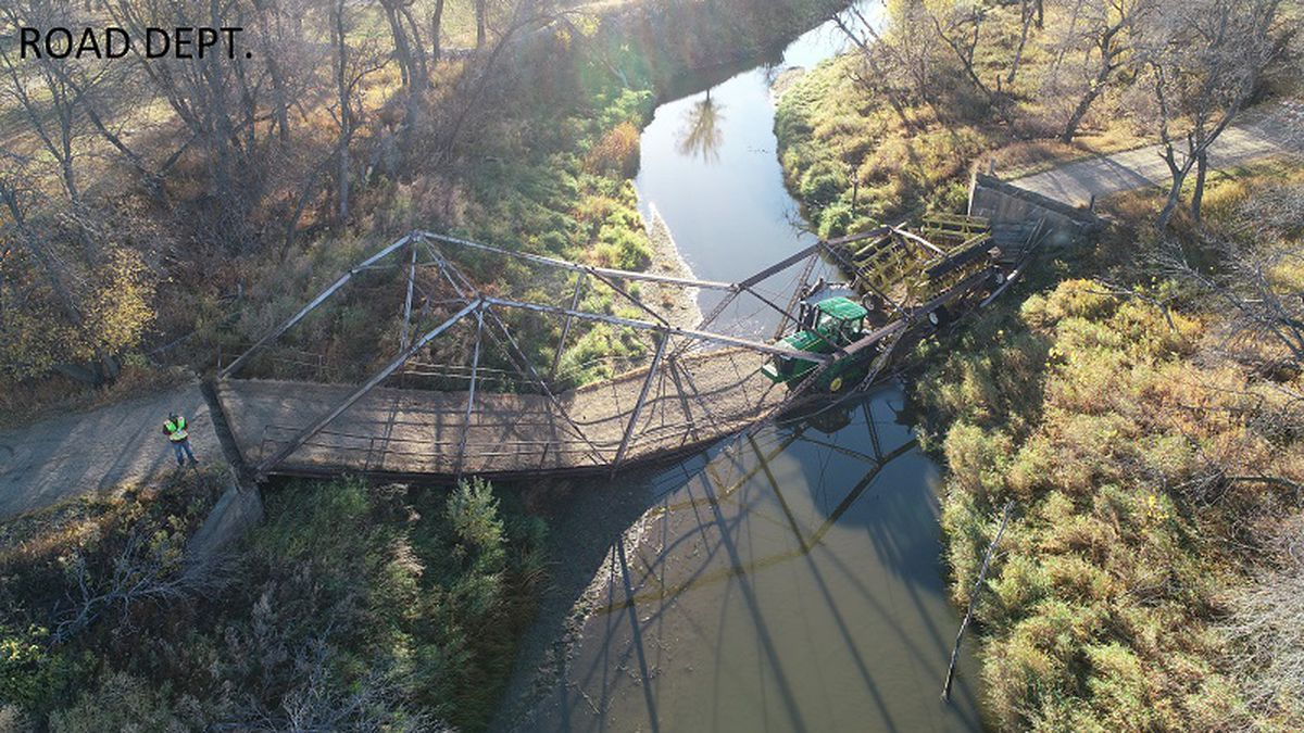 Last week a bridge collapsed on 20th Avenue N near Velva under the weight of a tractor and equipment.