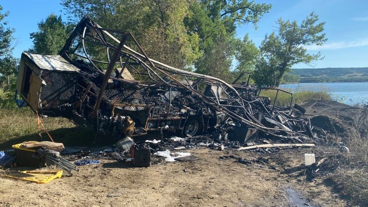 A camper is a total loss after a fire down by the desert south of Bismarck Monday afternoon.