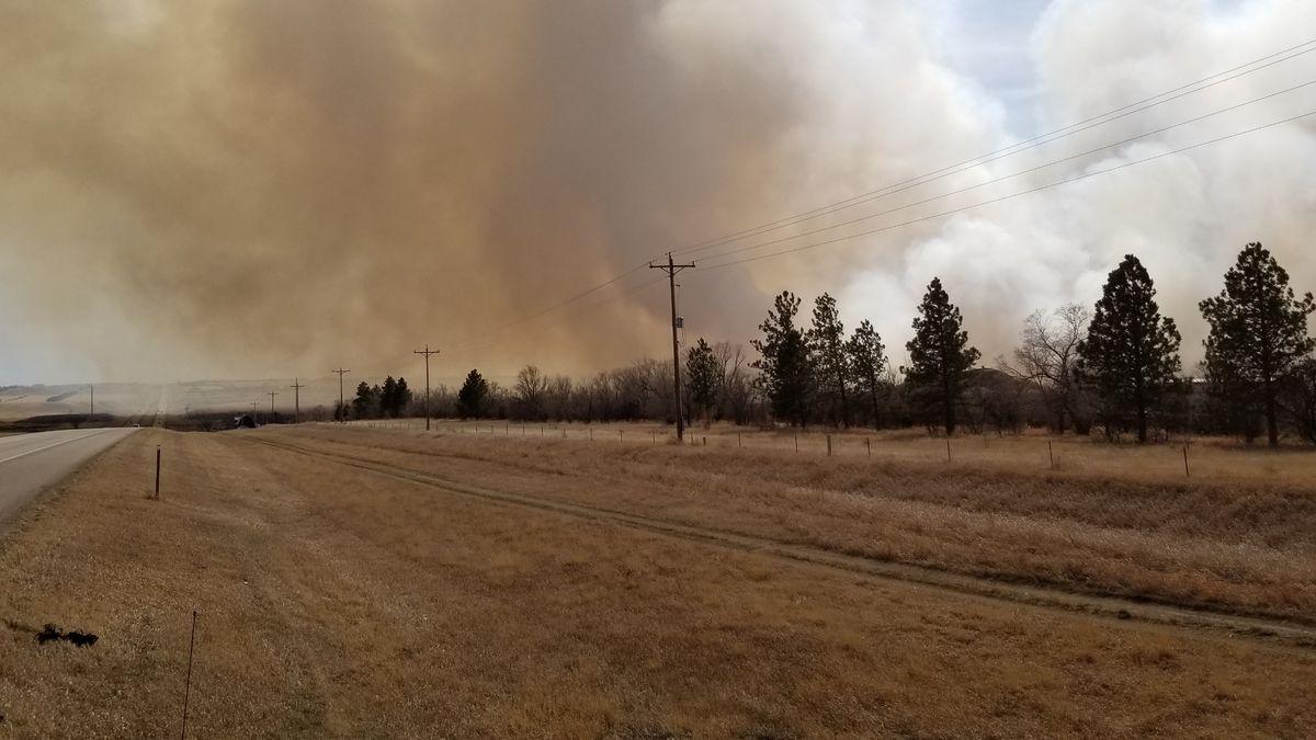 Fire north of Williston