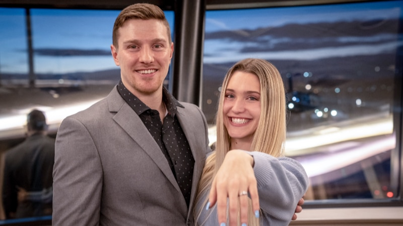 Bismarck resident Ben Weisbeck proposed to Teah Poyner on New Year's Eve.