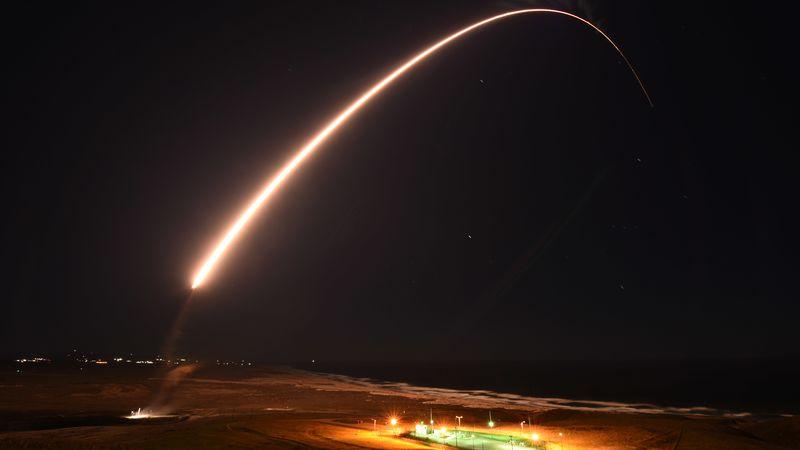 An Air Force Global Strike Command unarmed Minuteman III intercontinental ballistic missile...