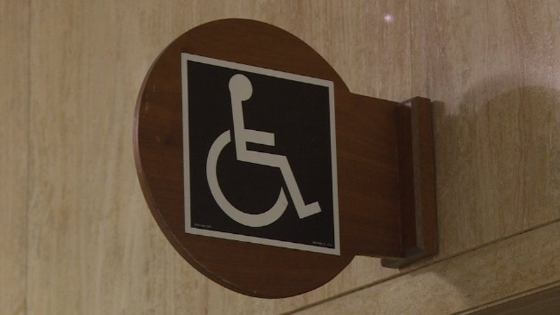 Handicap sign in the ND capitol building