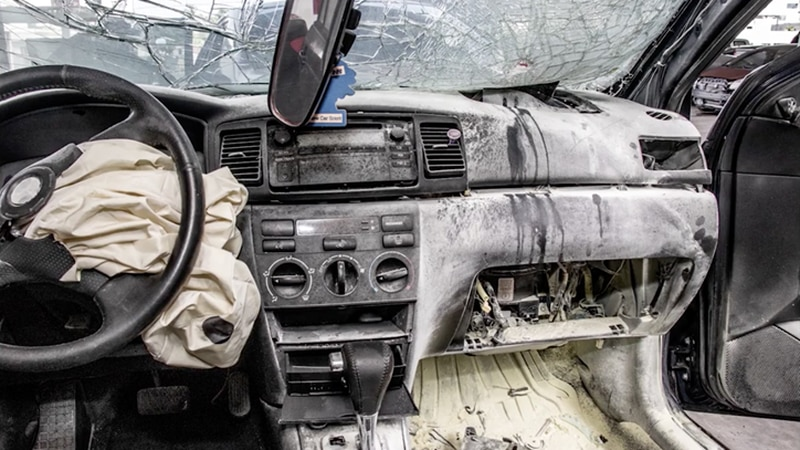 Car damaged by faulty airbags