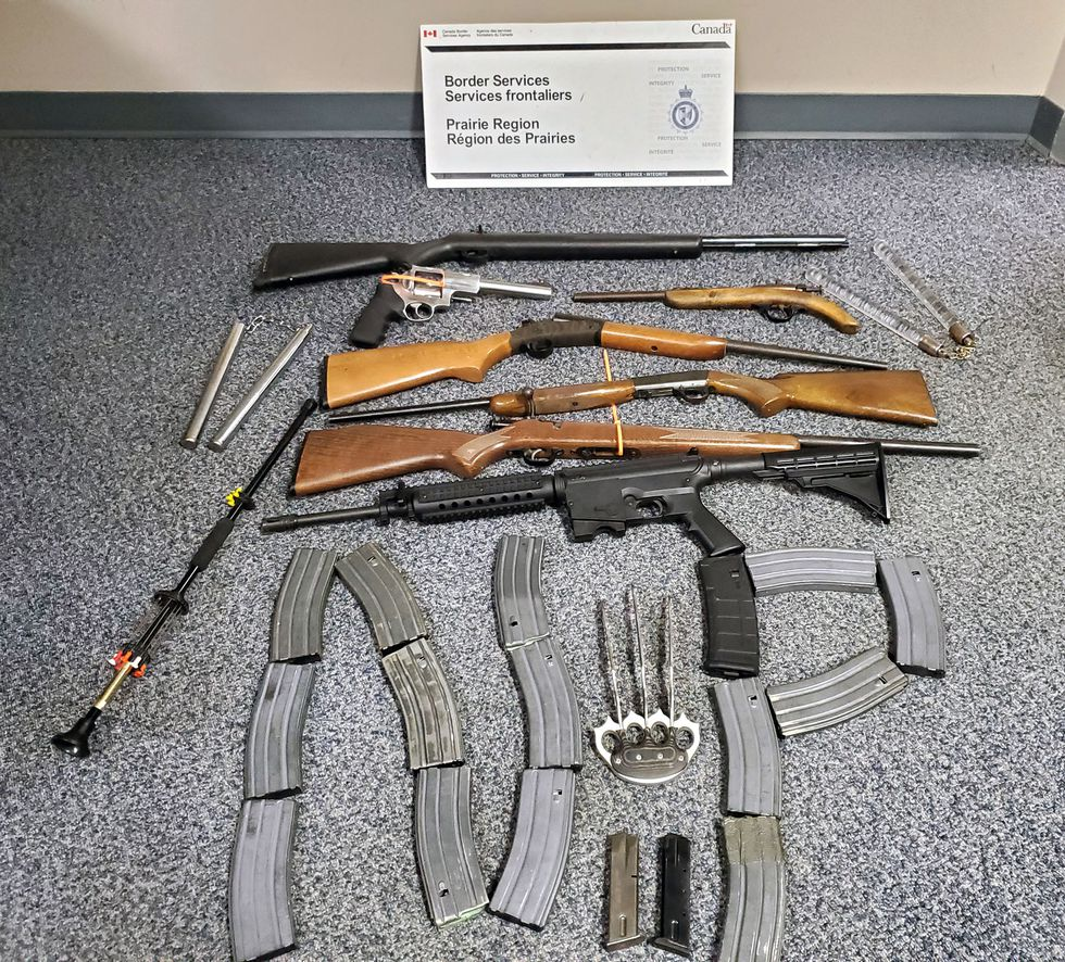 Canadian agents seized 18 guns at North Portal this summer.