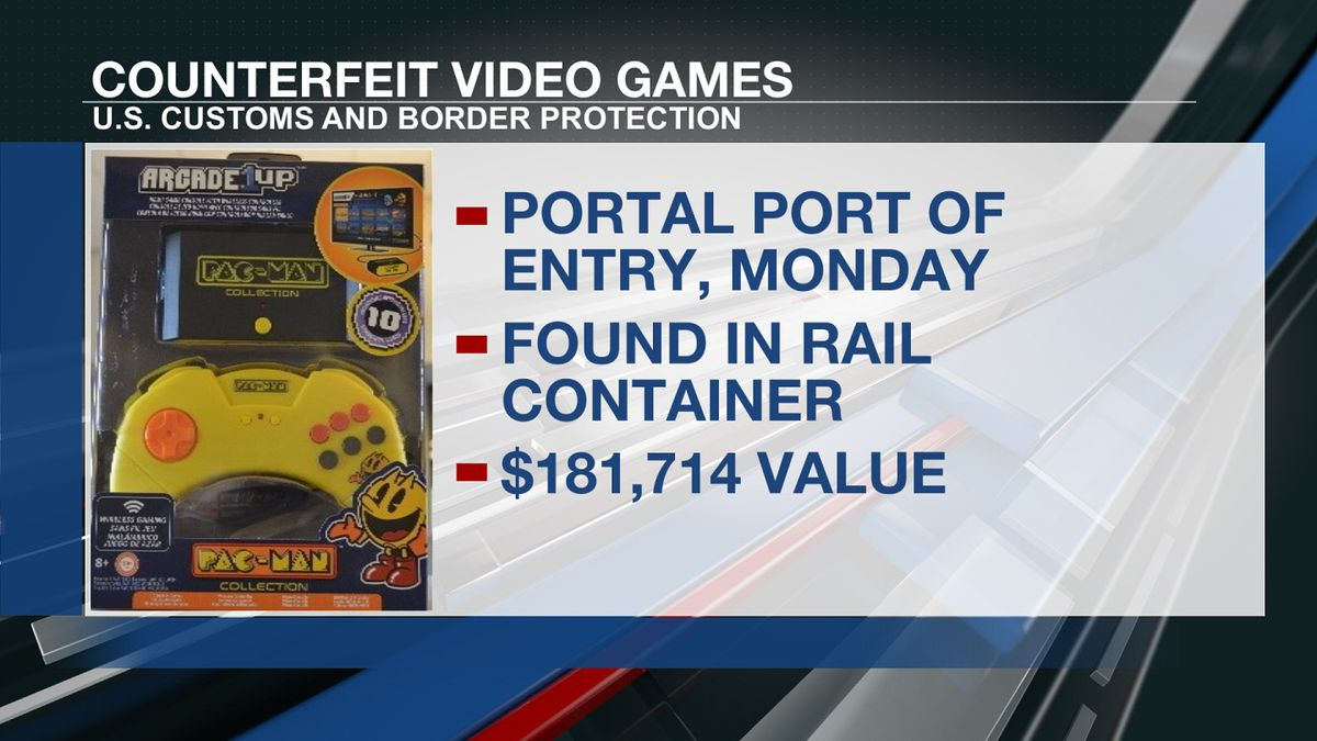 U.S. Customs and Border Protection officials seized counterfeit video games on Monday in Portal.