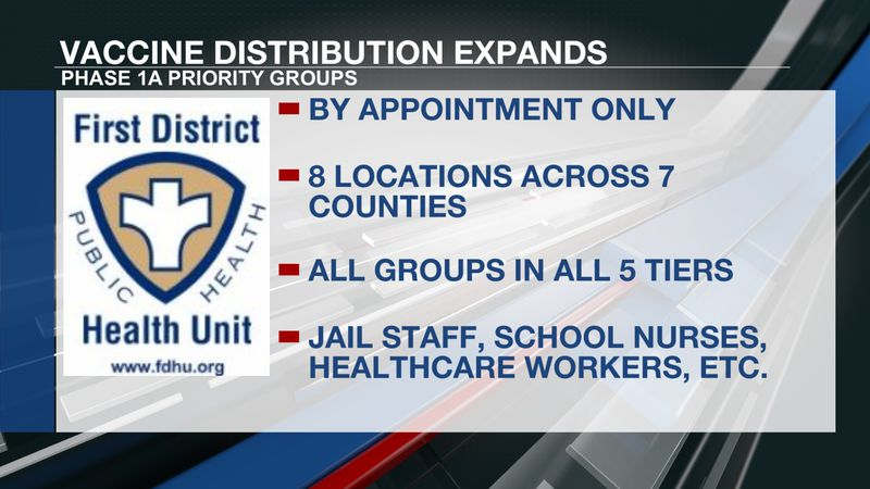 First District Health Unit expands vaccine distribution