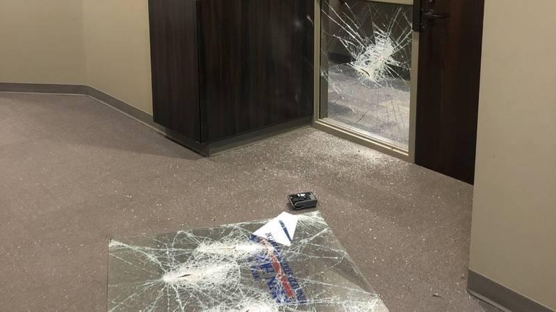 U.S. Senator John Hoeven's office door's window was smashed with only one broken pane of glass.