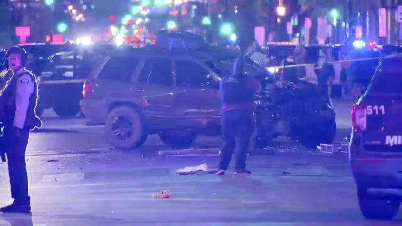 Minneapolis police say two people were taken to the hospital and a woman has died after a car...