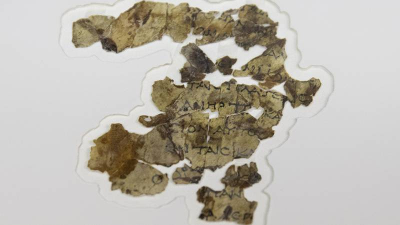 The Israel Antiquities Authority displays newly discovered Dead Sea Scroll fragments at the...