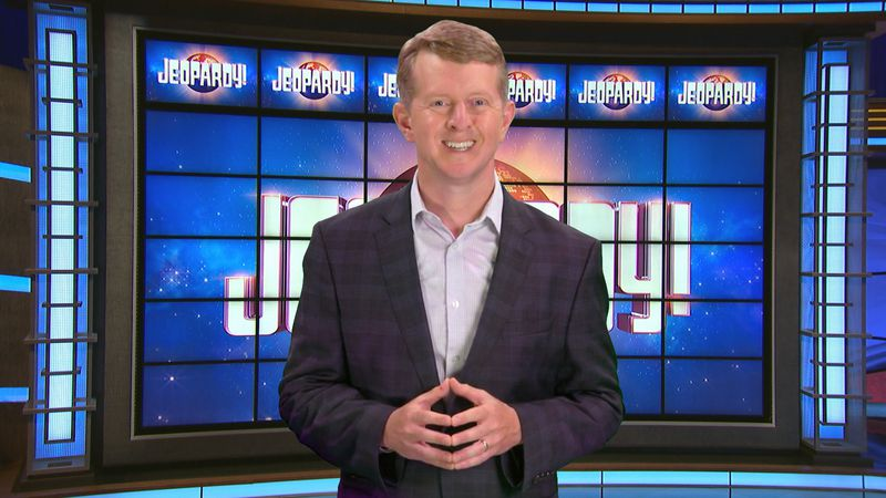 This image released by JEOPARDY! shows Ken Jennings, a 74-time champion the the set of the...