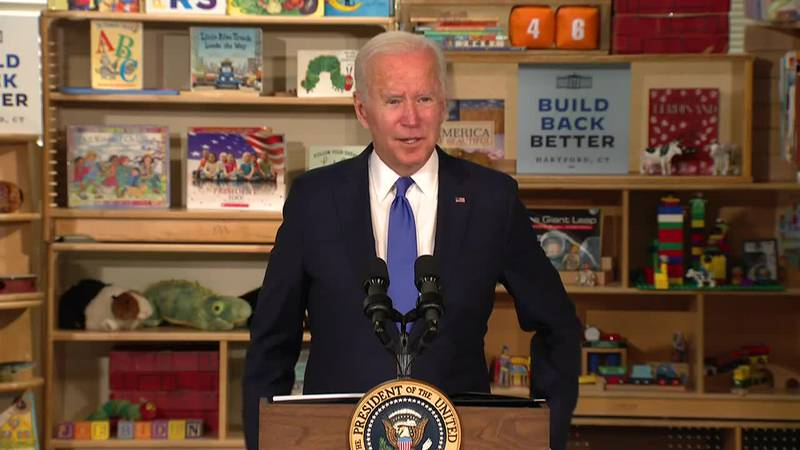 President Joe Biden touts helping middle class during remarks Friday in Hartford, Conn.