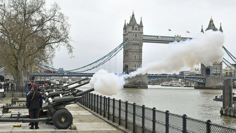 Members of the Honourable Artillery Company fire a 41-round gun salute from the wharf at the...