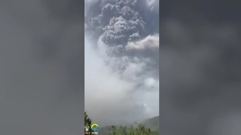 Residents evacuate the Caribbean island of St. Vincent as volcanic ash blankets the region.