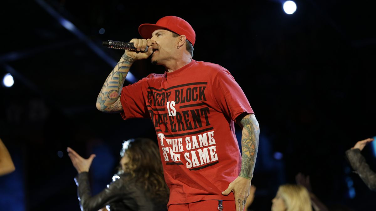 In this Feb. 15, 2014 file photo, rapper Vanilla Ice performs during the skills competition at the NBA All Star basketball game in New Orleans.