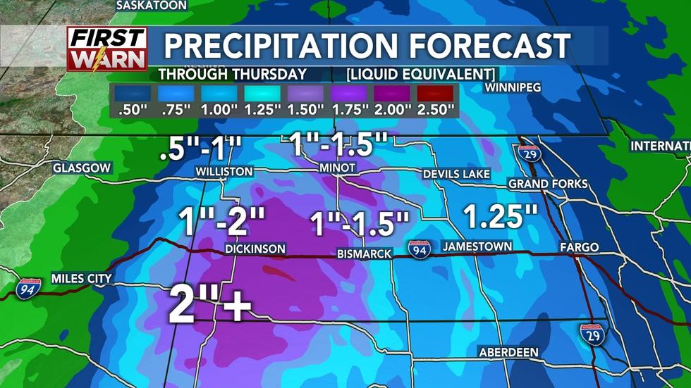 Precipitation forecast from Tuesday evening through Thursday (this includes liquid equivalent...
