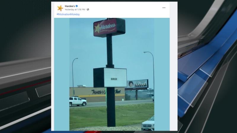 Hardee's Facebook post of the Minot Hardee's sign