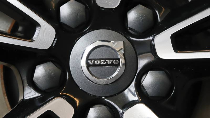 This is the Volvo logo on a wheel on a 2019 S90 T6 AWD Inscription automobile on display at the...