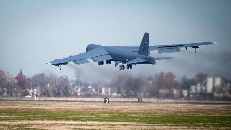 A B-52H Stratofortress departs for a long-range training mission at Barksdale Air Force Base,...