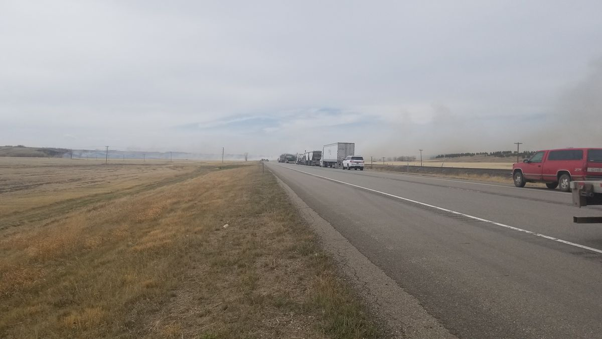 Town of Carpio evacuated due to fast-moving grass fire along Highway 52.