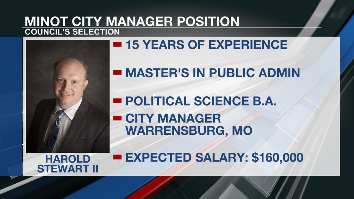 Harold Stewart II, who will be offered the Minot City Manager position, most recently worked as...