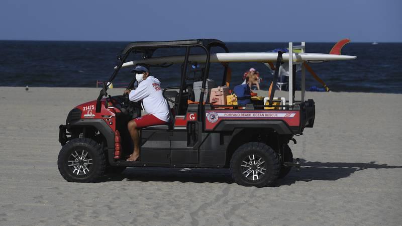 POMPANO BEACH, FL - JULY 31: A Lifeguard is seen on Pompano Beach as Hurricane Isaias tracks...