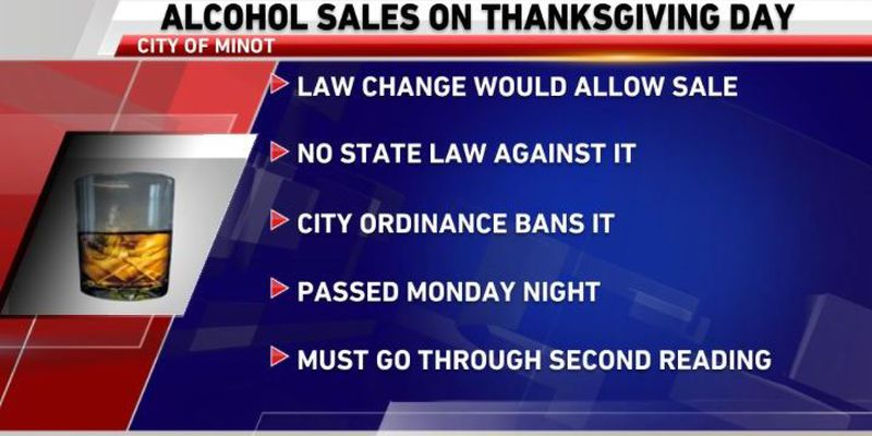Minot Votes To Allow Alcohol Sales On Thanksgiving Day