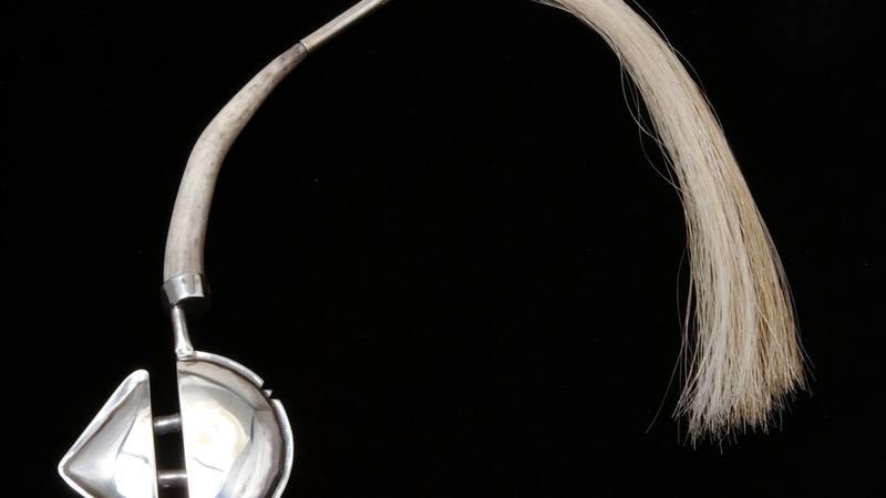 Nelda Schrupp, Amulet Form #313 with Audio Esthetics, 1993, 24 gauge sterling silver,...