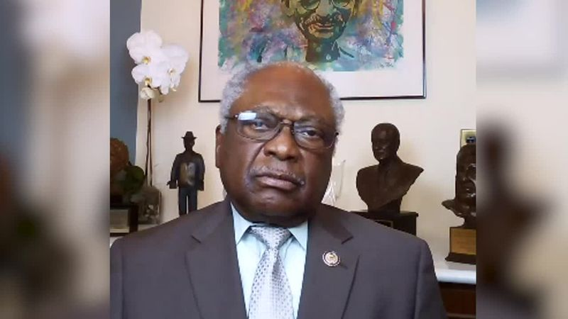 Rep. Jim Clyburn (D-S.C.) does an interview over Skype.