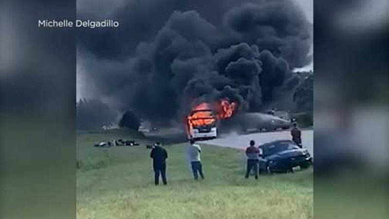 No one was seriously injured after a bus returning from a church camp caught fire in Texas....
