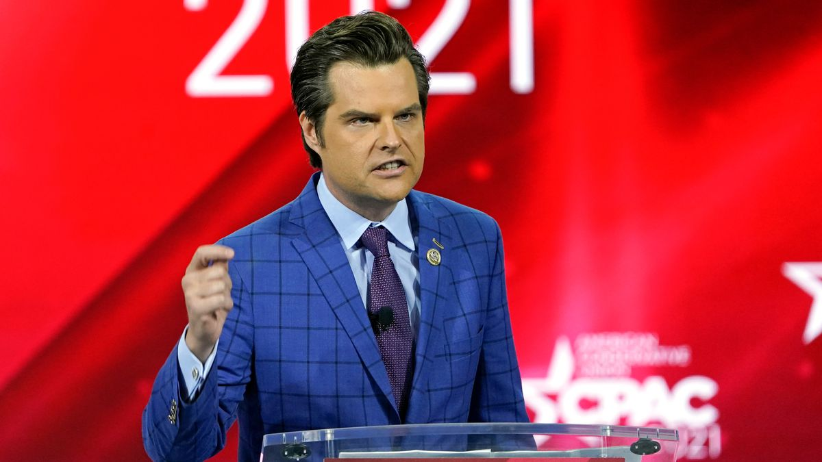 In this Feb. 26, 2021, file photo Rep. Matt Gaetz, R-Fla.,, speaks at the Conservative...
