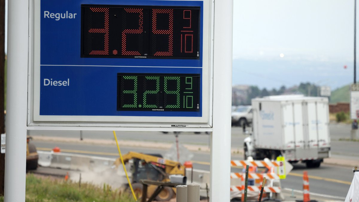 FILE - In this Thursday, July 1, 2021, file photo, the gasoline prices are displayed on a sign...