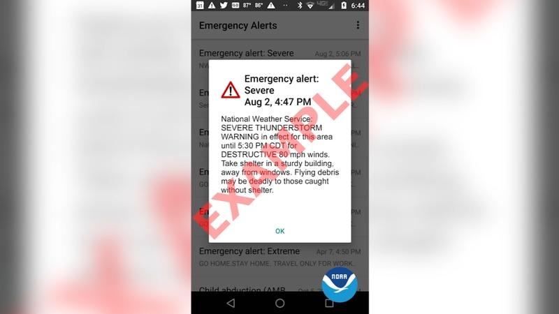 """Destructive"" severe thunderstorm warning alert example"